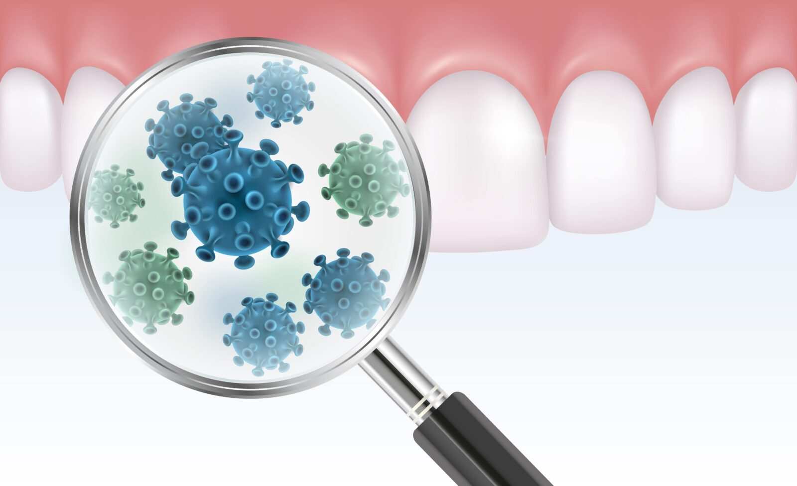 magnifying glass showing bacteria on teeth